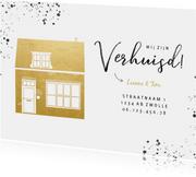 Stijlvolle verhuiskaart gouden huisje en zwarte spetters