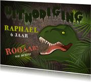 Stoere uitnodiging kinderfeestje t-rex jungle