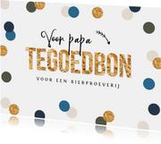 Tegoedbon verjaardagskaart confetti goud waardebon