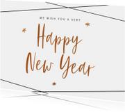 Trendy nieuwjaarskaart met geometrische strepen