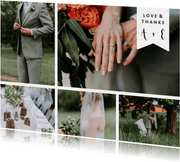 Trouwkaart met fotocollage en label met namen liggend