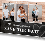 Trouwkaart save the date hout krijtbord foto's