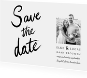 Trouwkaart save the date klassiek en stijlvol handlettering