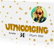 Uitnodigingen - Uitnodiging ballonnen goud met confetti