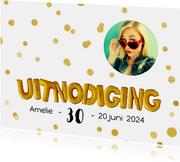 Uitnodiging ballonnen goud met confetti