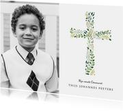 Uitnodiging communie klassiek kruis foto