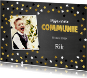 Uitnodiging communie krijtbord en sterretjes confetti