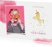 Uitnodiging communie of lentefeest unicorn meisje