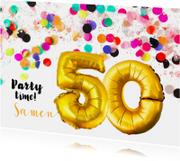 Uitnodiging confetti 50 jaar