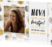 Uitnodiging geslaagd feestje confetti met foto