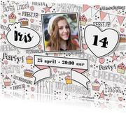 Kinderfeestjes - Uitnodiging handlettering trendy kaart met foto en banner