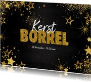 Kerstkaarten - Uitnodiging (kerst) borrel feestelijke kaart met sterretjes