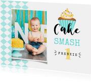 Uitnodiging kinderfeestje 1 jaar cake smash jongen cupcake