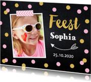 Uitnodiging kinderfeestje confetti foto meisje