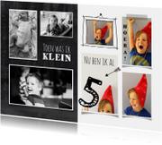 Uitnodiging kinderfeestje foto collage toen en nu