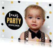 Uitnodiging kinderfeestje foto confetti jongen