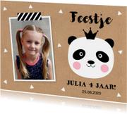 Uitnodiging kinderfeestje foto panda kraft meisje