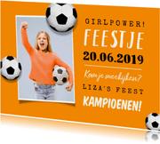 Uitnodiging kinderfeestje voetbal EK oranje foto