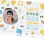 Uitnodiging met foto zomer zwemfeestje tropisch