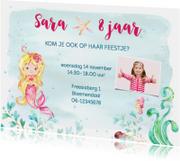Uitnodiging met zeemeermin kinderfeestje