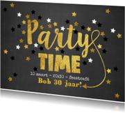Uitnodiging Party-Time goud sterren krijtbord