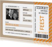 Uitnodiging ticket oranje met kraftlook