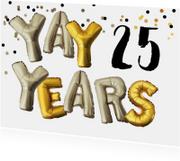 Uitnodiging verjaardag leeftijd aanpasbaar goud zilver