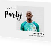 Uitnodiging verjaardag man met eigen foto