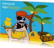 Uitnodiging voor piratenfeestje