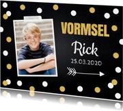 Uitnodiging vormsel foto confetti goud krijtbord