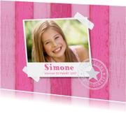 Uitnodiging vormsel foto houtprint roze