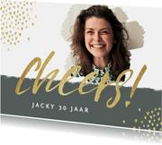 Uitnodigingen - uitnodiging vrouw cheerd hartjes goud foto