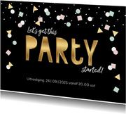 Uitnodiging zwart goud hip confetti