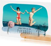 Urlaubskarte Palmen und Fotos