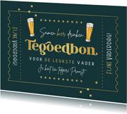 Vaderdag kaart retro tegoedbon bier goud