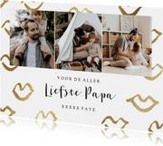 Vaderdagkaart met fotocollage en gouden kusjes