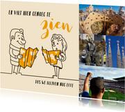 Vakantie cartoon echtpaar met toeristische kaarten