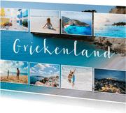 Vakantiekaart fotocollage 9 foto's met aanpasbaar land