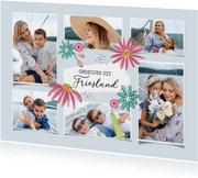 Vakantiekaart met zes foto's groetjes uit en bloemen