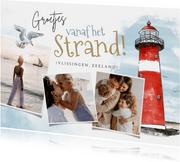 Vakantiekaart strand nederland vuurtoren fotocollage