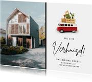 Verhuisbericht met Volkswagen busje en eigen foto