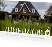 Verhuiskaart adreswijziging met grote foto, tekst en huisje