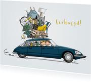 Verhuiskaart Citroen DS blauwgroen