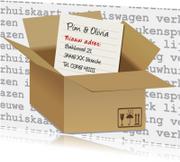 Verhuiskaart dozen met brief