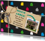Verhuiskaart gekleurde huisjes met foto van het nieuwe huis