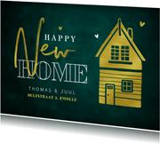 Verhuiskaart happy new home stijlvol goud groen huisje
