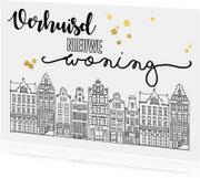Verhuiskaarten - Verhuiskaart huisjes handlettering