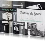 Verhuiskaart illustraties zwart wit foto