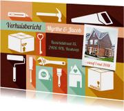 Verhuiskaart met foto, gereedschap kleurtjes