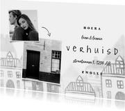 Verhuiskaart met foto's en huisjes diepte